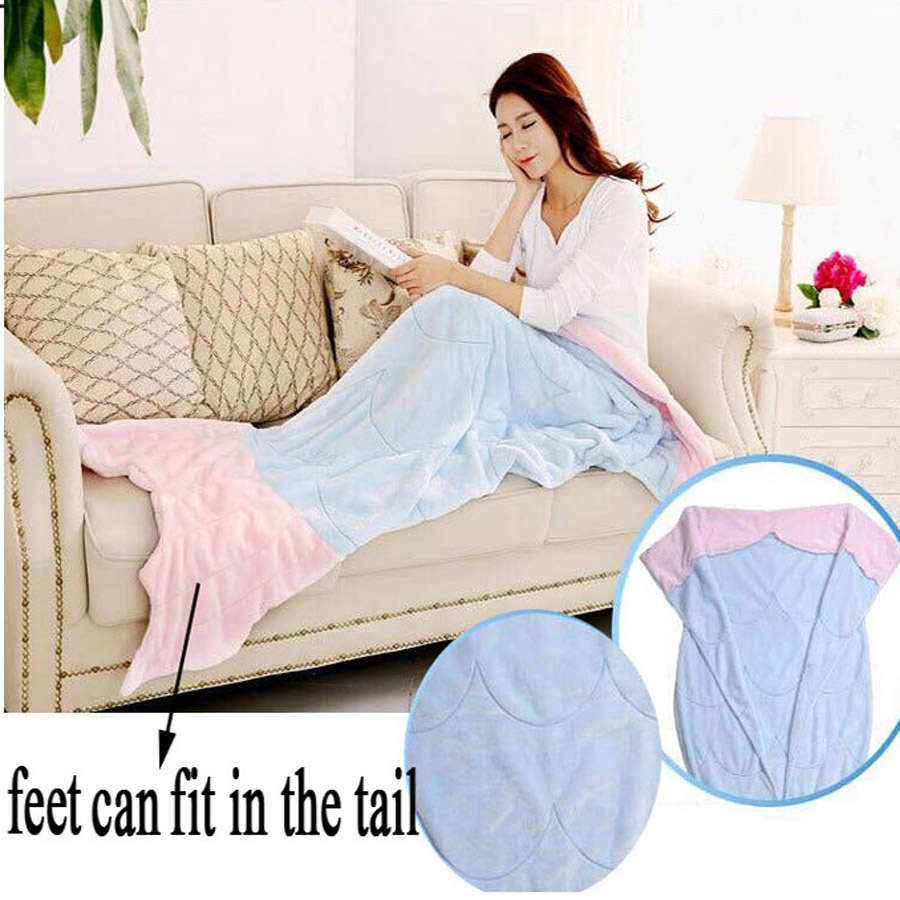 Coral Fleece Mermaid Tale Throw Blanket For Sofa Tv Adult  Kids Spring Fish Tail For Girls Lady Wife Girlfriend Women Child Baby