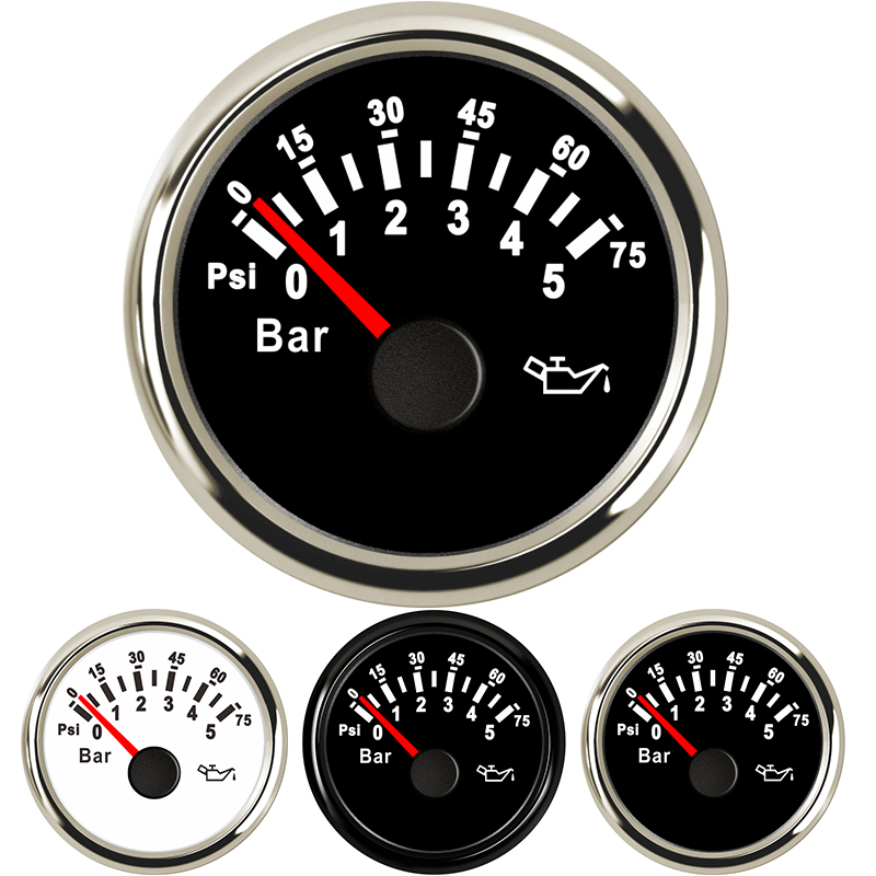 0 5 Bar Auto Marine Oil Pressure Gauges 0 10 Bar Oil Pressure Gauge Meters 52mm gauge oil press digital 9 32V for Boat Yacht Car in Oil Pressure Gauges from Automobiles Motorcycles