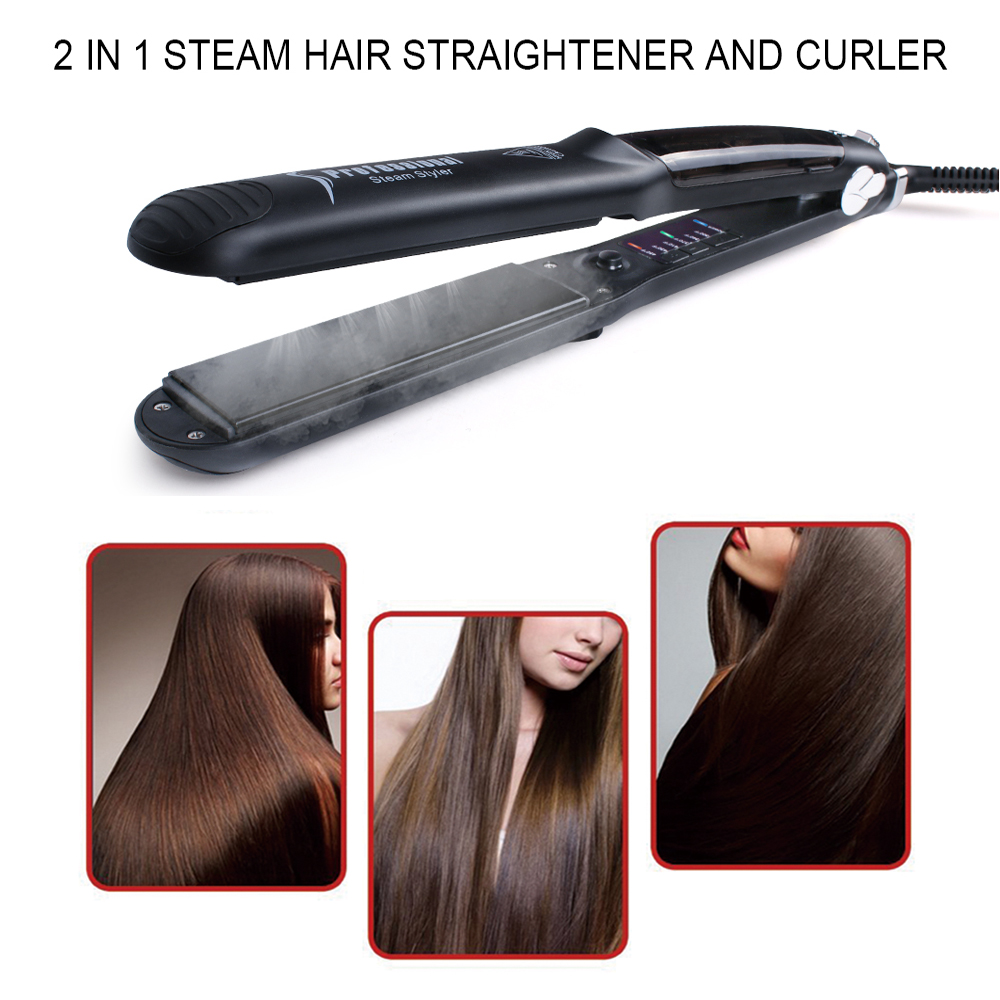 Ceramic Steam Hair Straightener Curler Professional Flat Iron Vapor Seam Straightening Iron Hair Iron Steamer Styling Tool