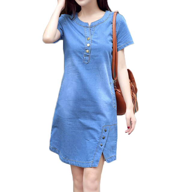 b845dd62a9b 2018 Summer Denim Dress Women Vintage Short Sleeve Plus Size 3XL Jeans  Dresses Loose Mini Casual Dress Vestidos European Style