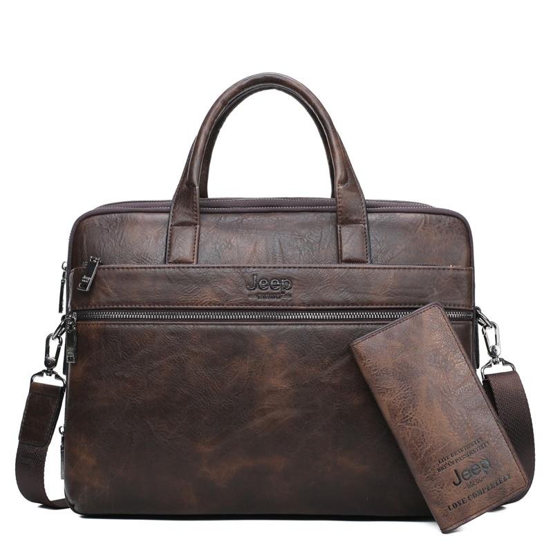 JEEP BULUO famosa marca 2 uds conjunto de bolsos de maletín para hombres bolsos de mano para hombres de negocios de moda bolsa de mensajero 14 'Laptop bolsa 3105/8888 - 6
