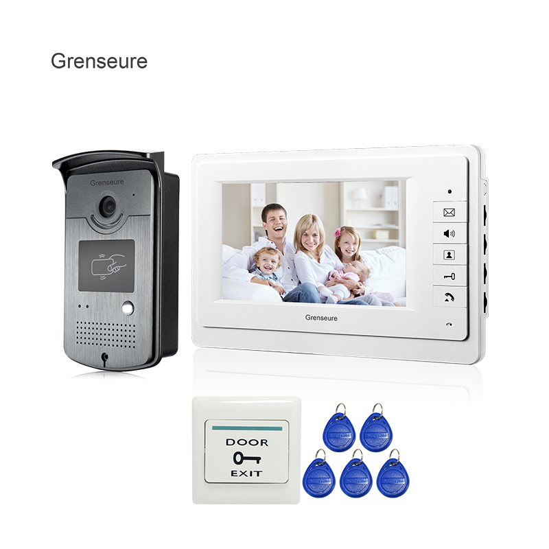Free Shipping Brand New Apartment 7 Video Intercom Door Phone System With RFID Card Reader Doorbell Camera In Stock Wholesale free shipping brand new 7 home video intercom door phone system with recording monitor rfid card reader door camera wholesale
