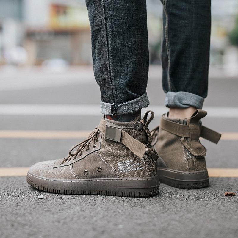 Lona Inverno Couro De Hop Sapatos Maré Coreana Mais Dos Versão Hip Alta Quente Khaki Algodão Veludo Tendência black Homens xqY66w8HE