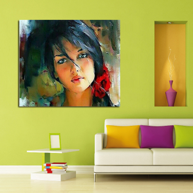 Free Shipping On Canvas 100% Hand painted Young Girl Art Wall Art ...