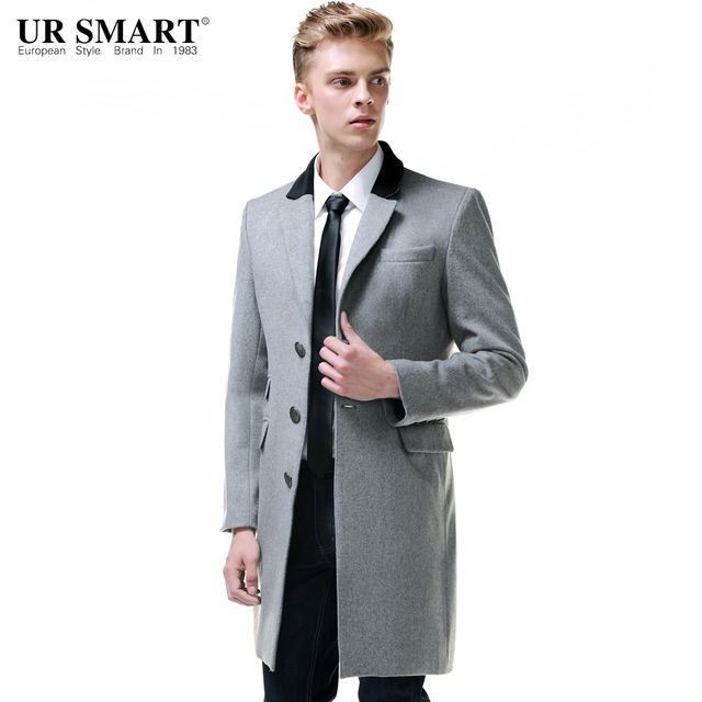URSMART British style single breasted wool coat men's business ...
