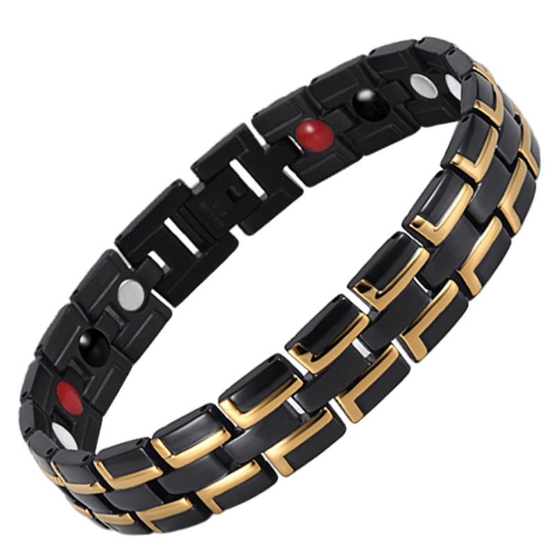 Tropfen-verschiffen Bio-elemente Energie Magnetische Armband Männer Schmuck Edelstahl Kette Länge Verstellbar