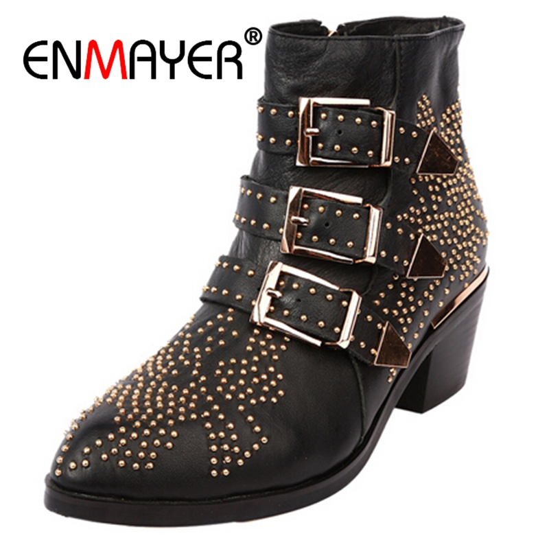ENMAYER Winter Genuine Leather Buckle Ankle Boots For Women Pointed Toe Kitten Heels Motorcycle boots Shoes Women zapatos CR59 enmayer high quality new pointed toe spike heels ankle boots winter platform boots for women leather motorcycle boots