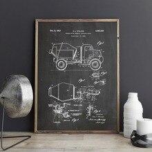Patente de camión mezclador de hormigón, arte de pared, carteles, decoración, impresión vintage, plano, idea de regalo, la industria de la construcción, decoración