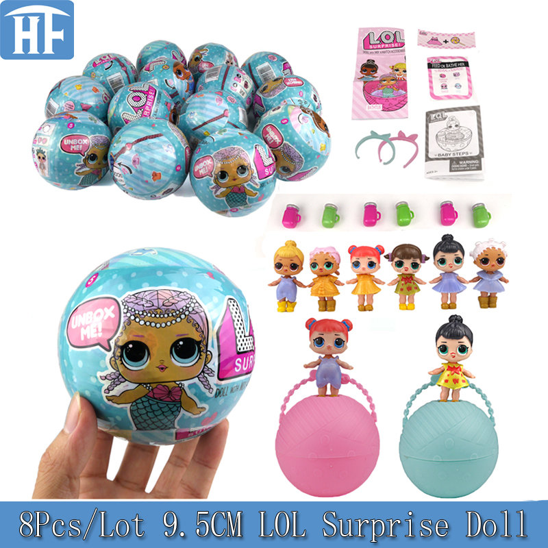 8Pcs/Lot 9.5CM LOL Surprise Doll Series 1 Magic Funny Removable Egg Ball Toy Novelty Unpacking Educational Girl Toy For Children magic ball 8 доставка снг