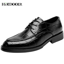 New Mens Wedding Shoes Crocodile Pattern Leather Lace-up Flat Italian Luxury Dress zapatos hombre vestir