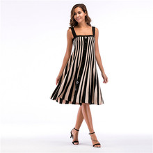 Vertical Striped Womens Summer Designer Dresses Sleeveless Spaghetti Strap Casual Style Clothing