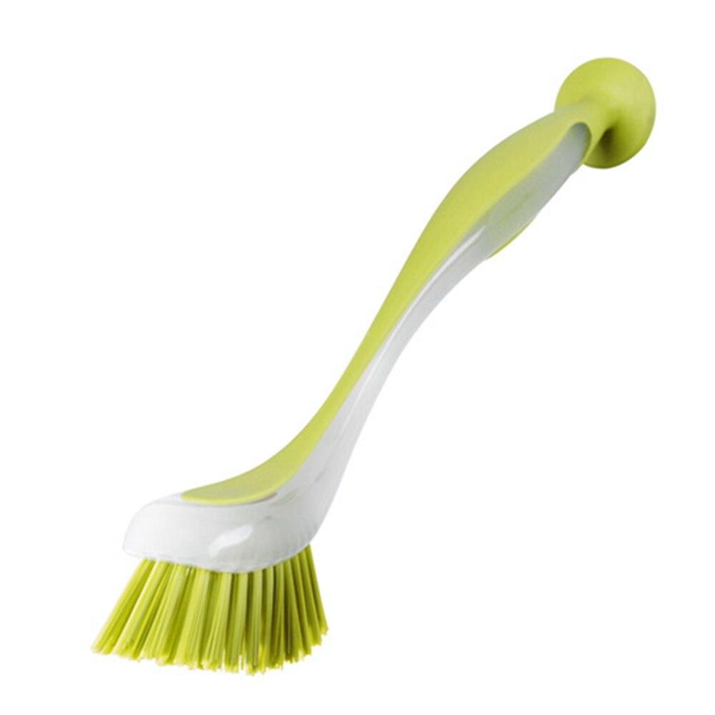 Кухонная многофункциональная длинная ручка инструмент горшок домашний скраб для мытья посуды щетка для мытья посуды сковорода присоска Вертикальная Экономия пространства раковина - Color: Green