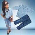 2 ШТ. мода девушка повседневная одежда набор лето одежда костюмы Baby Дети Девушки Одежда Набор Синий Футболка + Джинсы 2 ШТ.