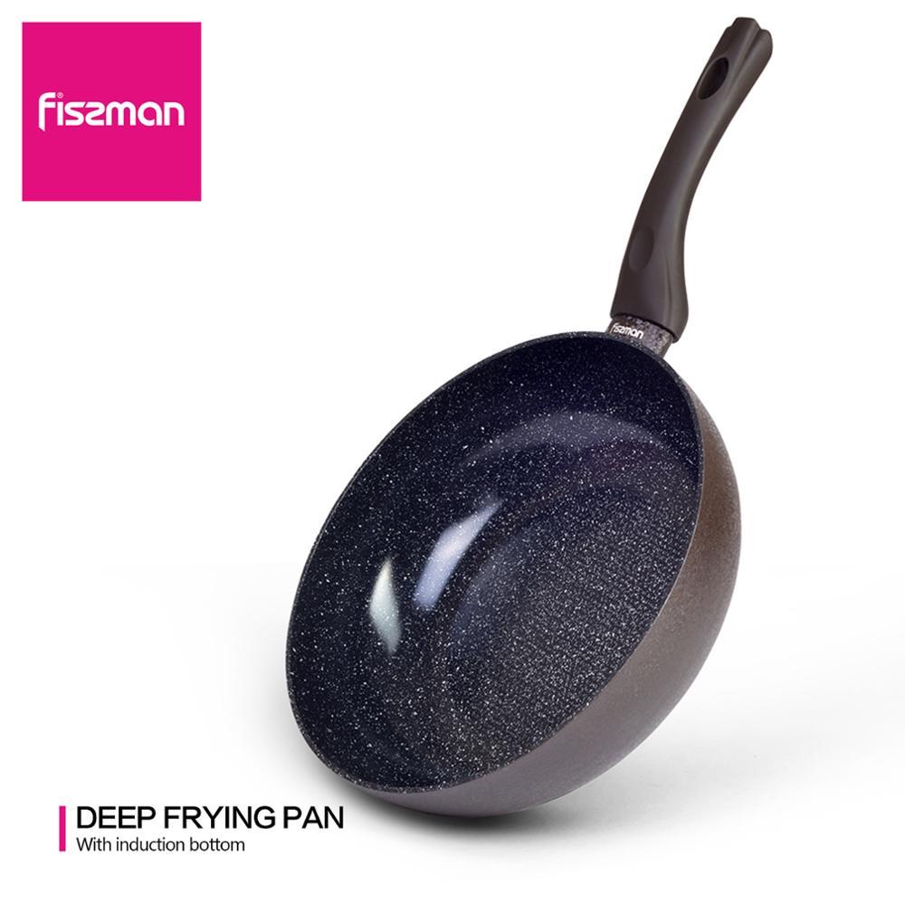 FISSMAN marbre noir revêtement céramique antiadhésif Aluminium poêle 20-28 CM pas d'huile-fumée utilisation pour cuisinière à Induction gaz