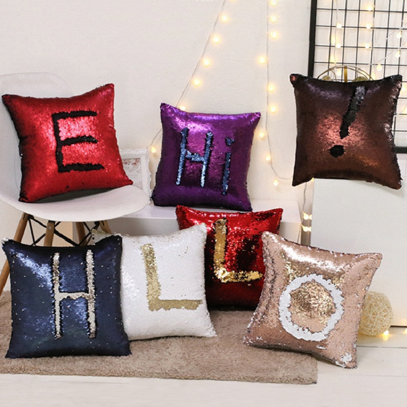 Reversible sequin mermaid sequin pillow magical color for Decorative blankets modern home decor