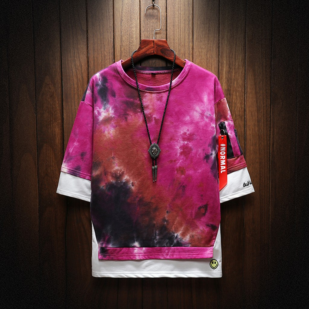 2019 New Hot Men Summer New Style Fashion Printed Tie-Dyed Fake Two Comfortable Top M-5XL Instyle Vetements de mode pour hommes 14