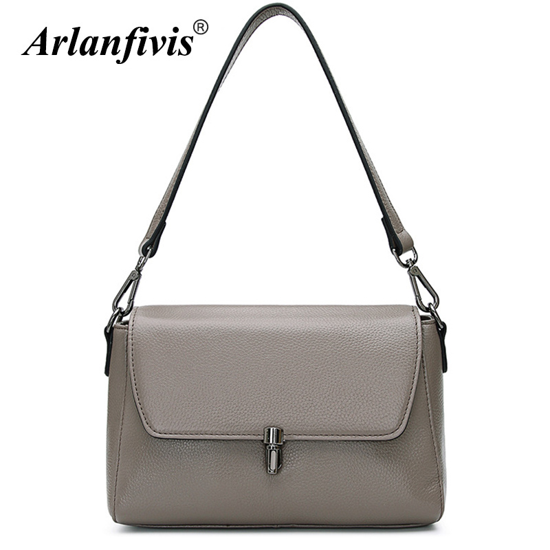 Arlanfivis Genuine Leather Simple Classic Fashion New 2018 Women Handbag Tote Female Messenger Bags bolsa feminina Cow Leather maifeini first layer cow leather women bag female genuine leather luxury handbag cowhide tote bags fashion messenger bags bolsa