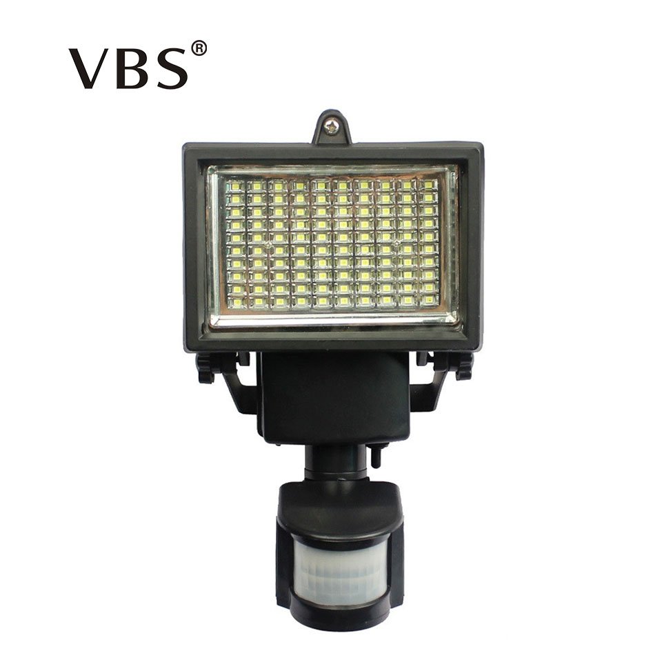 цена Super Bright 100 LED Natural White Outdoor Floodlight PIR Motion Sensor Led Solar Powered Light Lamp Waterproof Solar Wall Lamp
