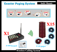 Restaurant coaster paging system with 1 charger and 1 transmitter and 15 blue coaster pagers,Wireless Calling System Restaurant
