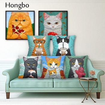 Hongbo kot kreskówkowy poszewka na poduszkę z poliestru zwierząt Funny Pet poszewka na poduszkę Home dekoracyjne poszewki na poduszki na sofę Cojines samochodów tanie i dobre opinie wyszywana Twill 100 poliester PRINTED NoEnName_Null Plac 1135 pillow