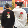 New Embroidery Rose Floral Women's Hoodies Turtleneck Sudaderas Mujer 2017 Long Sleeve Felpe Donna Unisex Sweatshirts C16