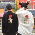 Nuevo Bordado Floral de Rose de Las Mujeres Hoodies Sudaderas Mujer 2017 de Manga Larga de Cuello Alto Felpe Donna Unisex Sudaderas C16