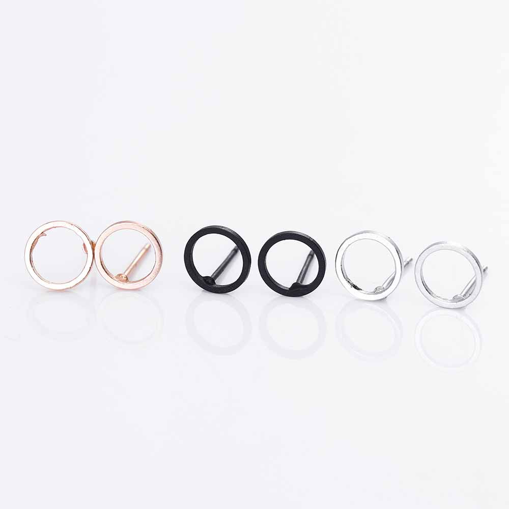 Fashion Minimalist Jewelry Gold Sliver Punk Geometric Round Circle Stud Earrings for Women Small Earrings Brincos Ear Jewelry 7