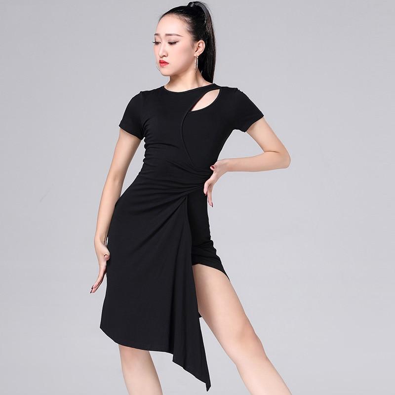 2019 New Sale Latin Dance Dress Training Performance Rumb Clothes Irregularity One-Piece Dress Design Female Adults Woman MD8136