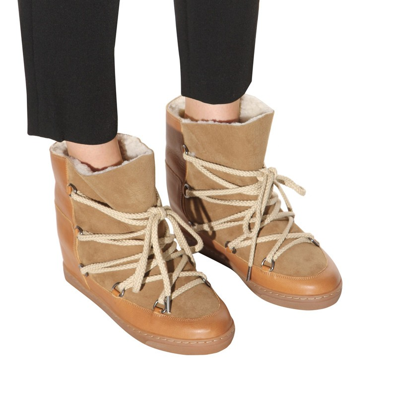 Botas Mujer Warm Plush Women Boots Sweet Cross-Tied Ankle Boots Black Brown Punk Shoes For Women Height Increasing Cowboy Boots