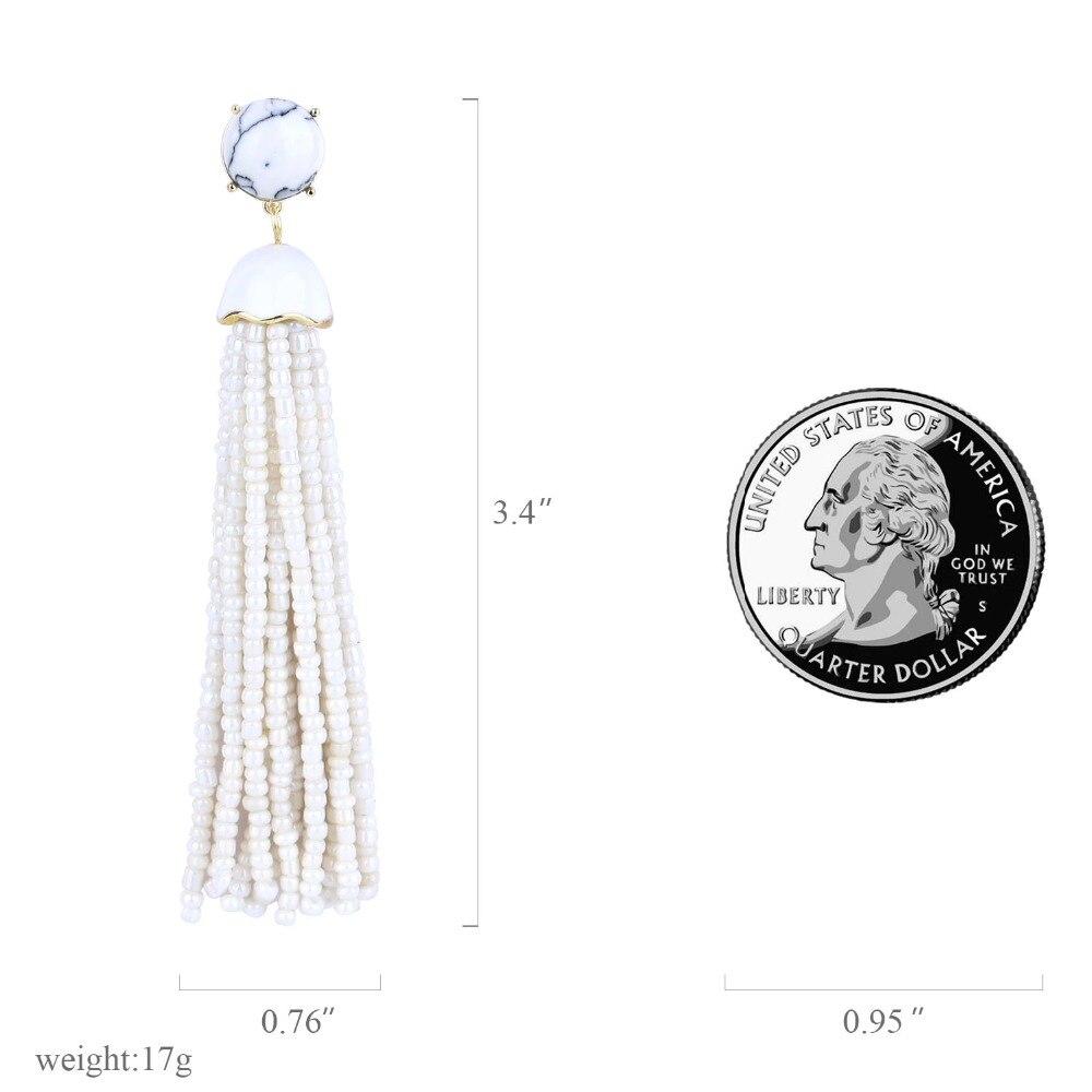 Trendy Natural Statement Seed Beaded Tassel Earrings for Women  (3)