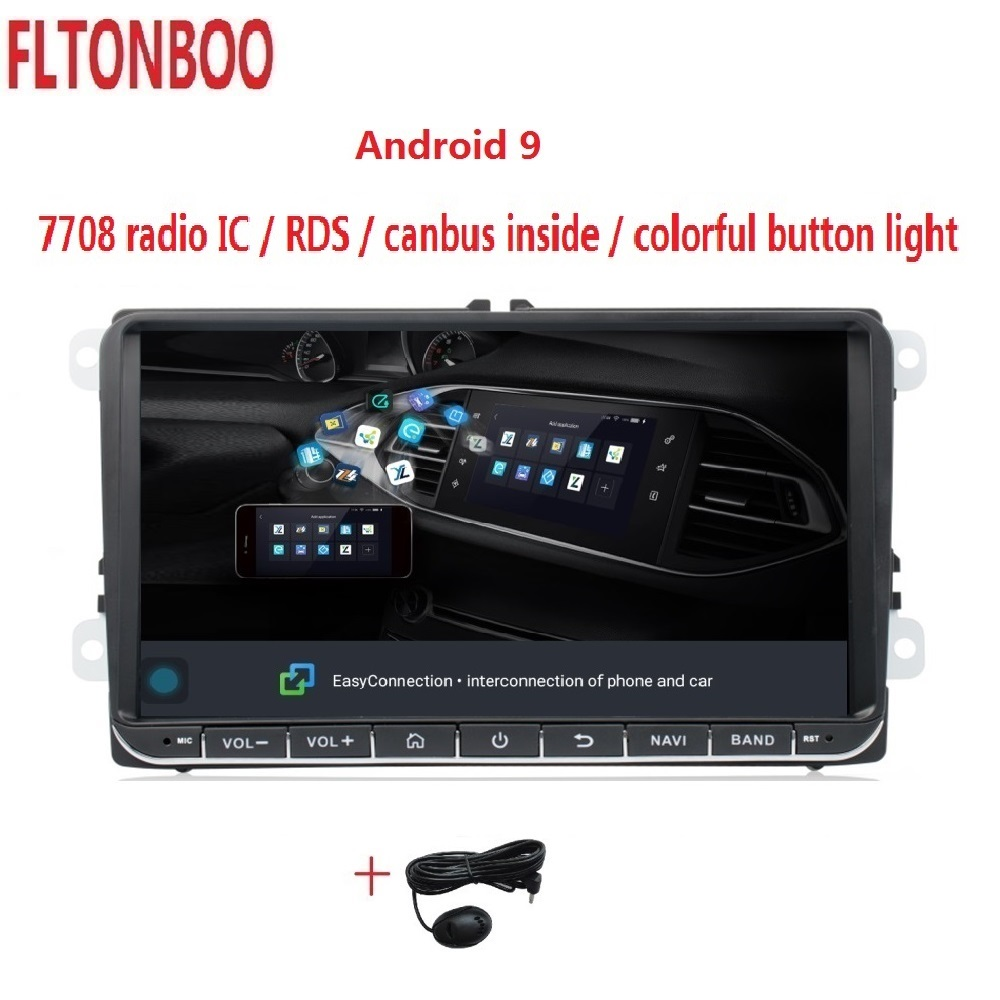 "9"" Android 9.1 Car GPS Navigation for VW Volkswagen GOLF 5, Polo Passat b5, Jetta Tiguan Touran Skoda,7708,canbus,steering wheel(China)"