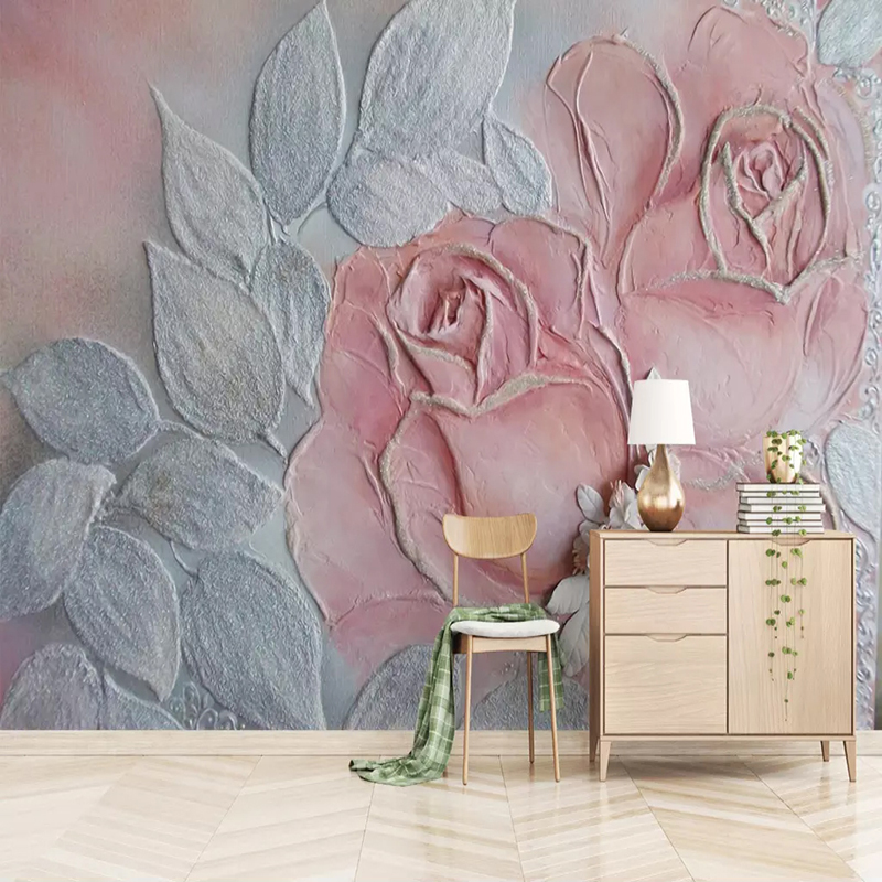 Custom Wallpaper Murals 3D Embossed Rose Flower Background Wall Painting Living Room Bedroom Mural Decoration Papel De Parede 3D