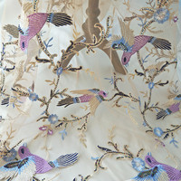 1 yards 3D Perlen Abendkleid Spitze Stoff mit Kran in Lila Blau, klar Pailletten Tüll Stoff für Abendkleid Haute Couture