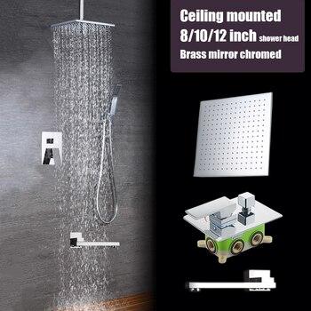 Ceiling mounted 3 ways shower set brass mirror chromed 8 10 2 inch rain shower head bathroom mixer faucet luxury bath shower bathroom brass wall mounted bath shower set embedded box 3 ways mixer faucet valve chrome plated 8 10 12 inch rain shower head