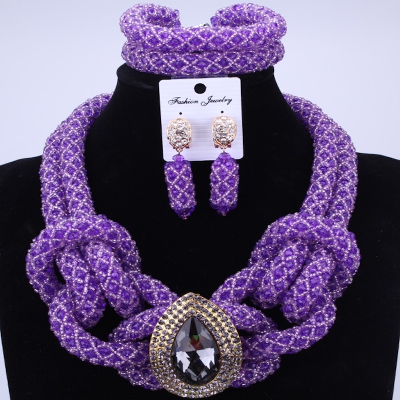 Purple Fashion African Handmade Beads Layer Jewelry Set Women Summer Choker Necklace Earrings Female Mother Party Gifts Set