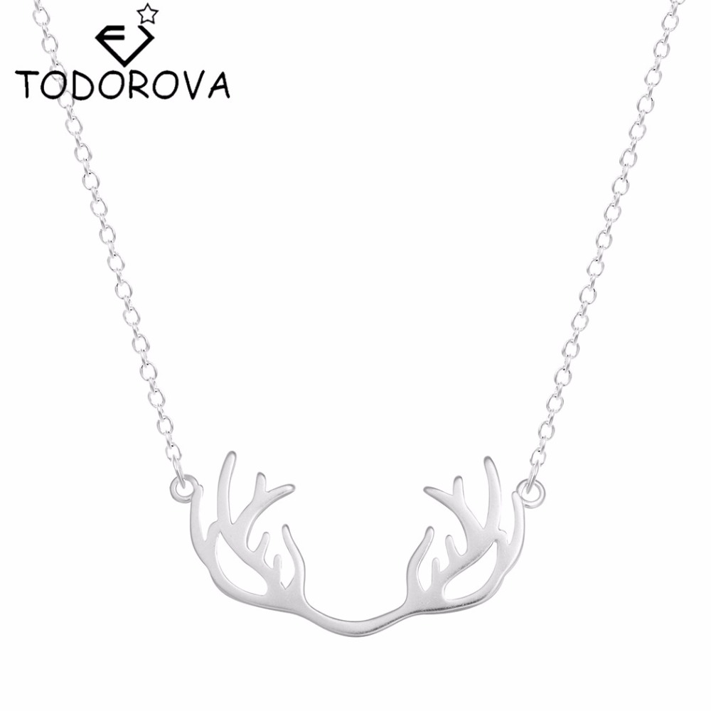 Todorova Hot Sale Pure 925 Sterling Silver Lovely Deer Antler Pendant Necklace Christmas G