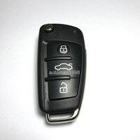 Novo 3 Botão Dobrar Chave Remota Para Audi A3 TT 433 MHZ Com 48 Chip HU66 Uncut Lâmina 8P0 837 220D Controles Remotos Do Carro Auto chave