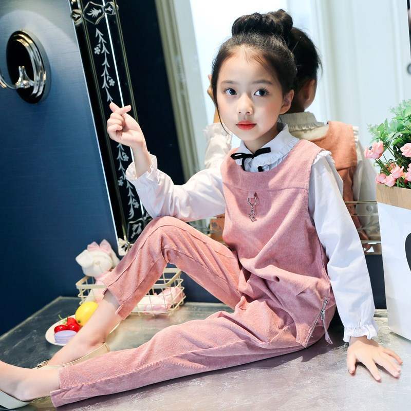 2018 Autumn Children Clothing Sets For Girls Teenage Clothes Long Sleeve White Blouses Shirts + Vest + Pants 3pcs School Outfits