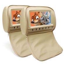 2x9 Zoll TFT LCD Leder Abdeckung Auto Monitor in die Kopfstütze mit Monitor DVD Video Spiele Player TV kopfstützen USB/SD/FM/Lautsprecher