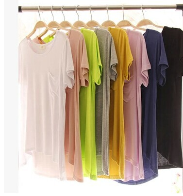 explosion High Elasticity models female candy color cotton t-shirt solid color modal Pocket t-shirt women