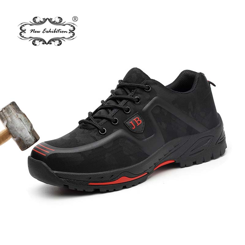 New Exhibition Fashion Safety Shoes Men Outdoor Steel Toe Cap Anti-puncture Boots Lightweight And Breathable Casual Work Shoes