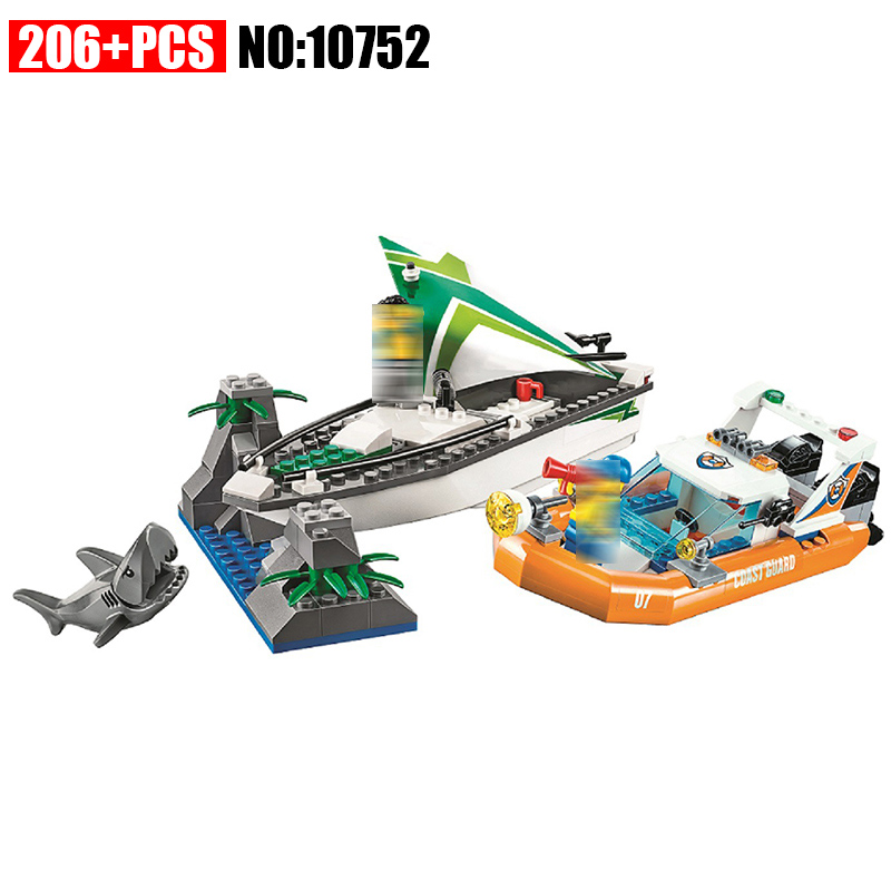 10752 City Coast Guard Sea Sailboat Rescue Boats building blocks DIY Educational bricks toys gift for children Compatible 60168 lepin 02012 city deepwater exploration vessel 60095 building blocks policeman toys children compatible with lego gift kid sets
