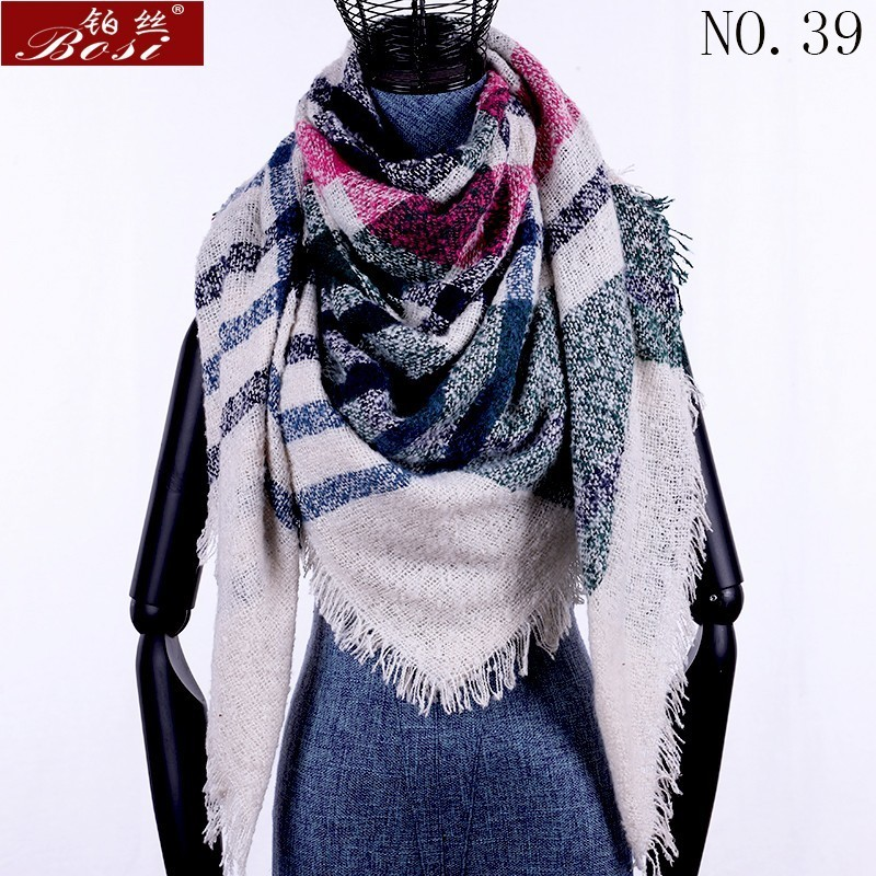 Winter Cashmere Plaid Scarf Shawl Sjaal Woman Poncho Triangle Luxury Brand Bandana Designer Pashmina Wrap Large Stoles Luxury