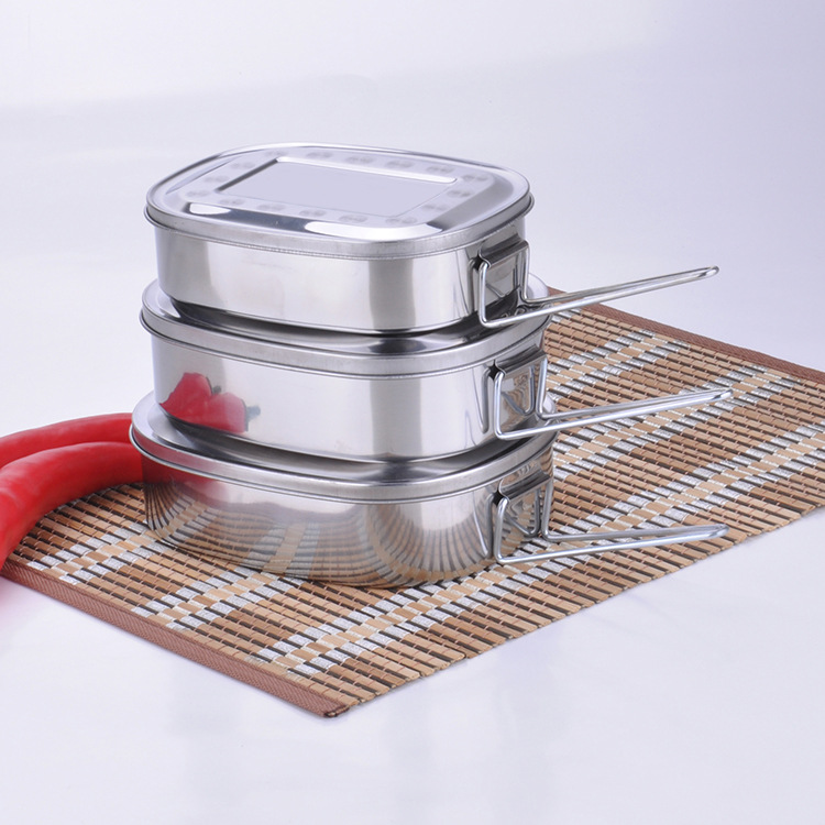 High Quality Eco friendly M L XL 3 Size Stainless Steel Student Tableware Food Container Lunch