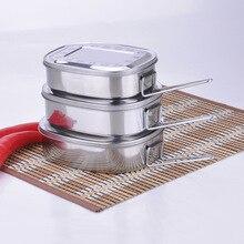 Hohe Qualität Umweltfreundliche M/L/XL 3 Größe Edelstahl Student Geschirr Lebensmittelbehälter Brotdose mit einem griff