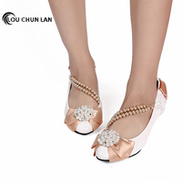 Pearl Rhinestone Bridesmaid Low Heeled Shoes coffee Lace Bow soft outsole handmade Wedding Shoes Female Pumps Free Shipping