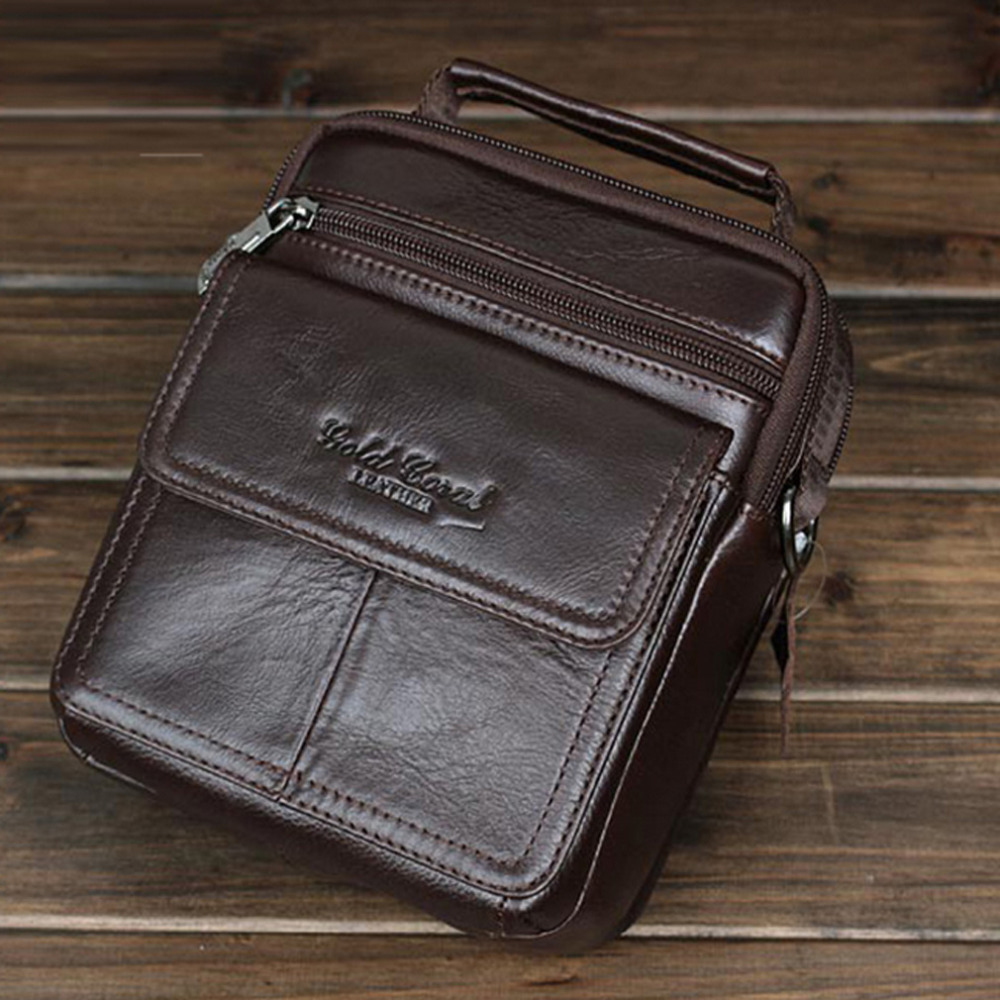 все цены на Men's Genuine Leather High Quality Real Cowhide Handbag Casual Travel Business Crossbody Messenger Pack Shoulder Bag Pouch