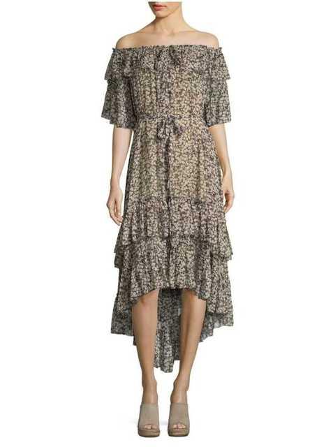 Women Belted Waist Ruffles Cherry Print Prima Tiered Dress Off The Shoulder Frill Dress