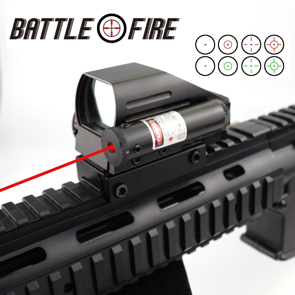 Collimator Sight For Hunting Rifle Scope Holographic Reflex 4 Reticles Red Dot Sight Tactical Riflescope+Red Laser Optics