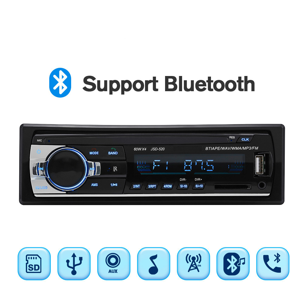 BT Car Radio Stereo Player Digital Bluetooth MP3 60Wx4 FM Audio USB/SD with In Dash AUX Input Autoradio image